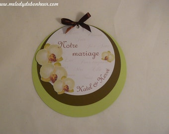 To share round wedding nature Orchid white, green anise and chocolate