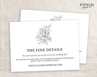 Wedding Details Card | Wedding Info Card | Wedding Enclosure Card | Printable Details Card | Wedding Information Card | Printable Info Card