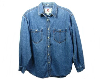 Women Levi's Denim Shirt, Size Large, Vintage 90s Levi Denim Blouse, Button Up Long Sleeve 100% Cotton
