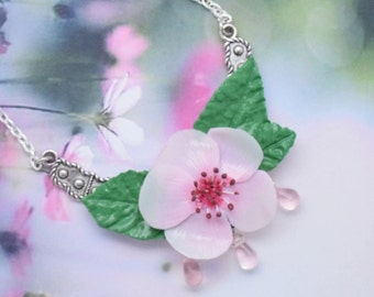 Cherry Blossom necklace and its leaves