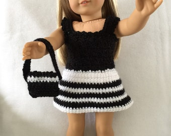 Crocheted American Girl Doll Dress with purse and shoes