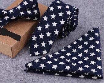 Tie Pocket Square Bow Tie Set Boyfriend Gift Men's Gift Anniversary Gift for Men Husband Gift Wedding Gift For Him Groomsmen Gift for Friend