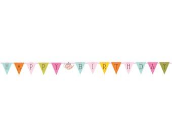 TEA TIME Ribbon Flag BANNER Birthday Tea Party Supplies Decoration Décor Photo Backdrop