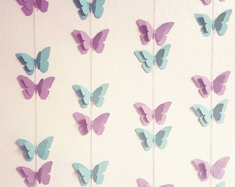 10 FEET BUTTERFLY GARLAND-Any Color--Any Length--Happy Birthday Butterfly Banner--Cupcake Toppers--First Birthday--Baby Shower--Backdrop--