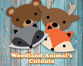 Woodland Animal Head Cutouts