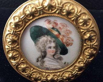 Antique miniature hand painted portraits of Victorian Ladies on porcelain (group of 4)