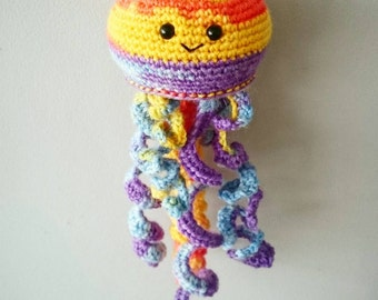 Jelly Fish Ornament, Stuffed Sea Creature, Amigurumi, Hanging Jellyfish, Home Decoration