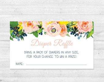 Diaper Raffle Ticket, Baby Shower, Floral, Watercolor, Diaper Raffle Insert, Printable, Instant Download