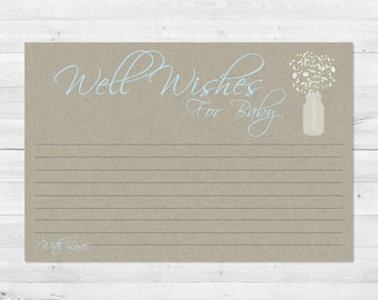 Well Wishes For Baby, Boy, Rustic, Mason Jar, Baby Shower Games, Floral, Kraft Paper, Instant Download, Babies Breath