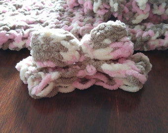 Baby blanket brown and pink