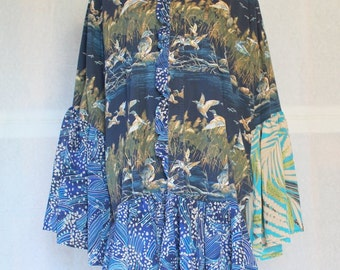 Women's XXL shirtdress, country girl shirtdress, plus size dress, reconstructed dress, women's tops, romantic dress, upcycled shirtdress
