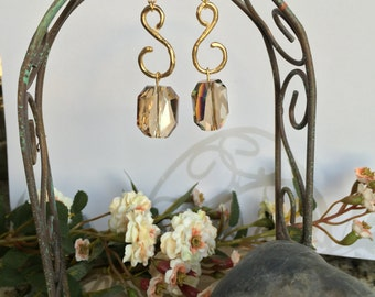 S-shaped Gold Earrings with Golden Shadow Swarovski Elements Stones