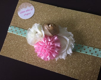 Mint babyheadband ~ Pink and white headband ~ Gold headband ~ Mint hearts~ Gold and Mint headband