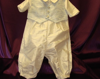 Leo - Ivory Silk Romper with Blue Brocade Waistcoat