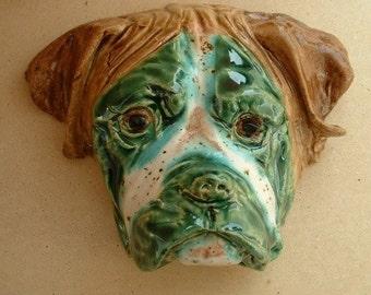boxer dog face in enamelled ceramic handmade