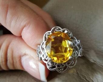 Lemon Quartz Gemstone Ring- size 9!