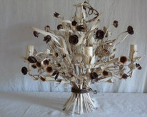 Antique French TOLE CHANDELIER hanging basket flowers bouquet ...Shabby chic Nordic decor...Wonderful!