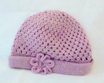 Bonnet pink lace crochet pattern