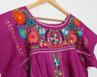 Magenta Embroidered Mexican Dress / Handmade Mexican Dress / Embroidered Bohemian Summer Dress