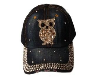 Rhinestone/Owl Baseball Cap