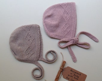100% cashmere Baby bonnet handknit from newborn to 3 years to order
