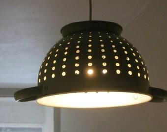 Metal Colander Green Lampshade