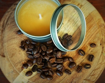 Fresh Coffee Scented Premium Natural Soy Wax Container Candle In Medium Clear Lid Metal Travel Tin - 6oz - 100g