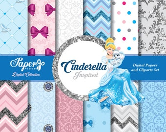 Cinderella Scrapbook Paper and Cliparts set, Pink, Blue, Silver Patterns, Chevron, Stripes, Glitter, Polka Dots, charms, bows