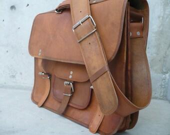 "Leather Messenger Bag, Leather Briefcase, Leather Satchel, Laptop Bag, Full Grain Leather Bag, Travel Bag Rustic Leather Bag 15"""