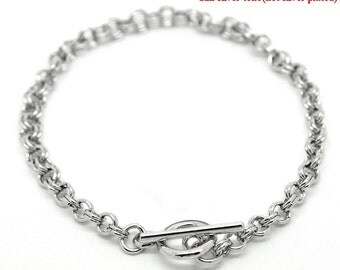 8 1/2 inch Double Loop Cable Chain Bracelet with Toggle Clasp (1584)