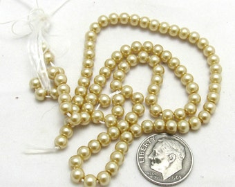 """M*  1 Strand (15"""") Round Glass Pearl Beads 4mm (B73d9/221a)"""
