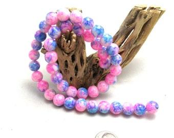 1 Strand Glass Beads Round 10mm Pink/Blue (B87i)