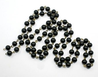 Handmade Round 8mm Glass Pearl Bead Antique Bronze Chains Black (B92f)