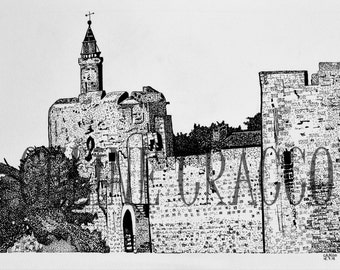 AIGUES MORTES RAMPARTS (black ink illustration of old south of France city, print)