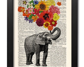 Elephant with flowers, Elephant print, Flower print, Art print, Illustration print, Book page print, Dictionary art, Love print [ART 047]