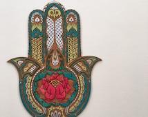 Lotus Flower Hamsa Wall Art, Hand Painted Sacred Protection Symbol Decor