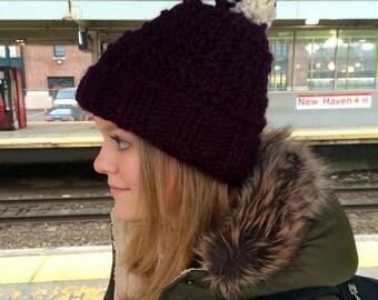 Chunky Knit Hat with Pom Pom