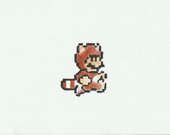 SMB3 TANOOKI Mario  - Hand Drawn Video Game  Art A5 Paper