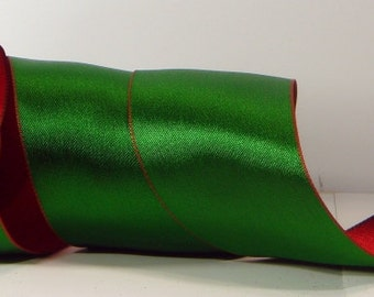 Wired Christmas Ribbon ~ 1-1/2 inch Satin Red / Green Reversible  Ribbon ~ Craft Ribbon ~ 5 Yards