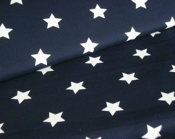 Fabric blue with white stars 4 cm