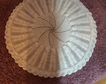 Hand knitted Christening Shawl