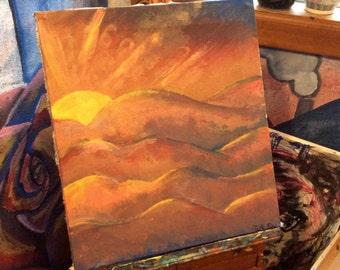 Rising sun , acrylic painting