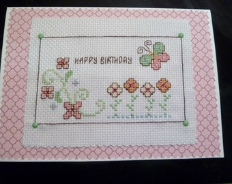 Beautiful happy birthday cross stitch card