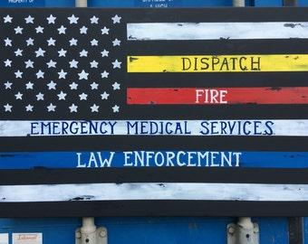 Thin Line Flag | Canvas | Emergency Services | Dispatch | Fire | Law Enforcement | Police | LEO | Firefighter | EMS | Distressed Flag
