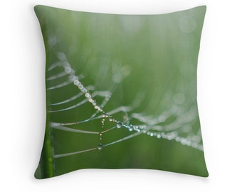 Green Grass Pillow, Decorative Throw PILLOW home decor, Water Drops Pillow Cover, Dew Drops Photograph Throw Pillow Case, Green Cushion