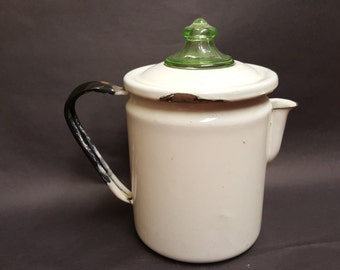Vintage Enamelware Coffee Pot with Green Glass