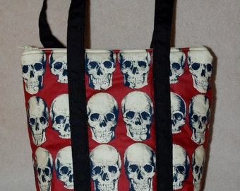 White Skulls on Red Insulated Lunch Bag
