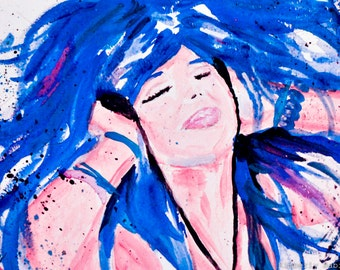 Fully Alive watercolor painting print, Fashion Illustration, Fashion art, Woman Art, Girl Illustration,watercolour, Girl art, art print