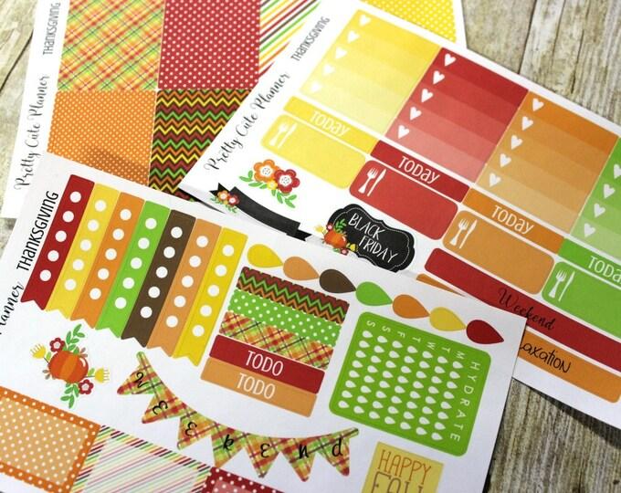 Planner Stickers - Thanksgiving Planner Stickers Weekly Planner Sticker Set Erin Condren Life Planner - Happy Planner - Functional stickers
