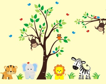 "Nursrey Decals - Wall Decals Nursery - Safari Theme - Jungle Theme - Zoo Theme - Kids Room Decoration - Baby Gift - Kids Decor - 83"" x 125"""